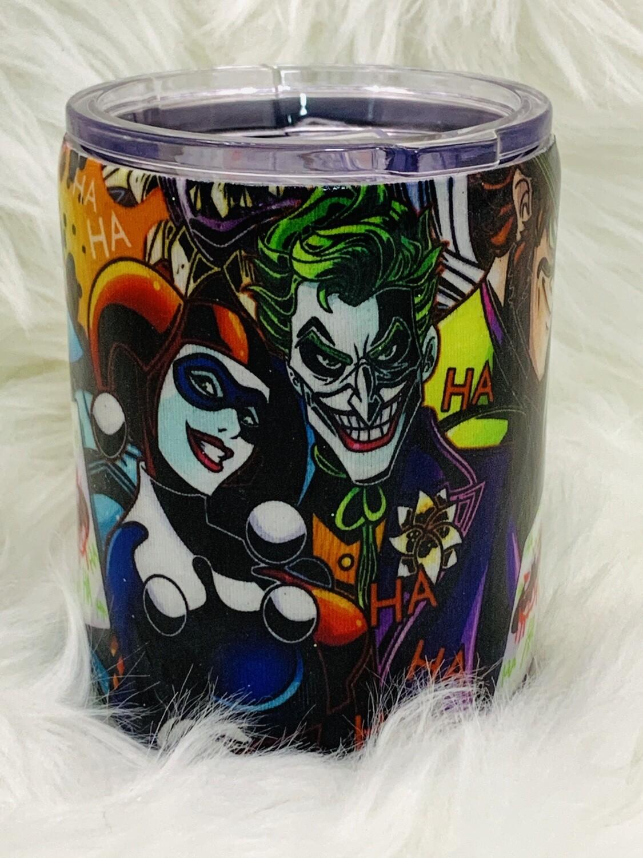 14oz stainless steel glitter fabric tumbler - joker design.