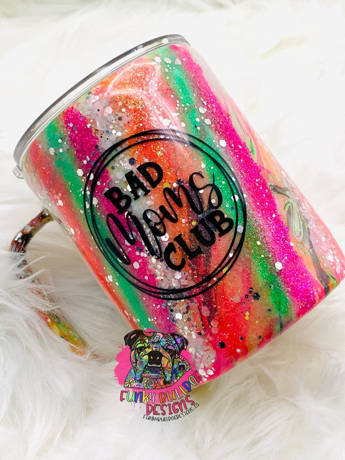 14oz stainless steel painted and glitter tumbler - Bad moms club