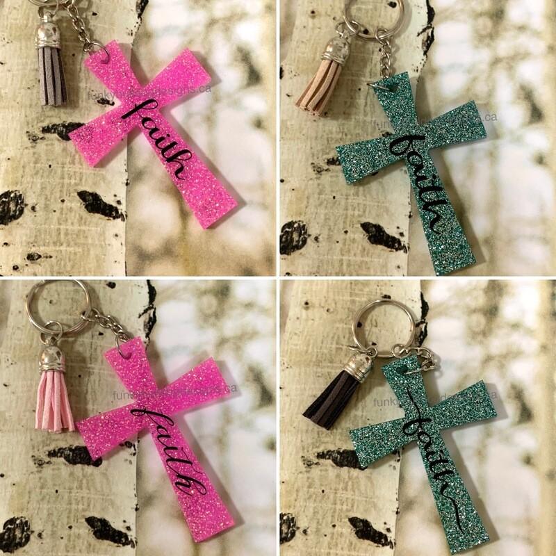 Resin Glitter Keychain - Cross