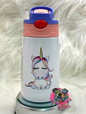 12oz stainless steel toddler tumbler with built in straw - Unicorn design on both sides