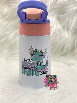 12oz stainless steel toddler tumbler with built in straw - Dragon design