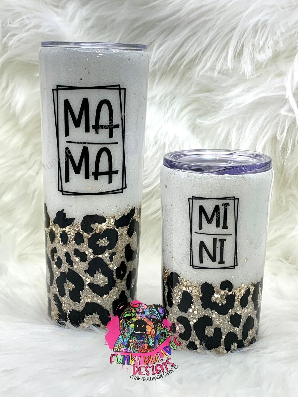 20oz Mama & 12oz Mini matching leopard print glitter tumbler set