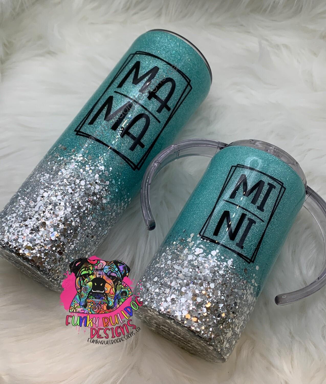 PRE-ORDER 20oz Mama & 12oz Mini matching tiffany blue glitter tumbler set