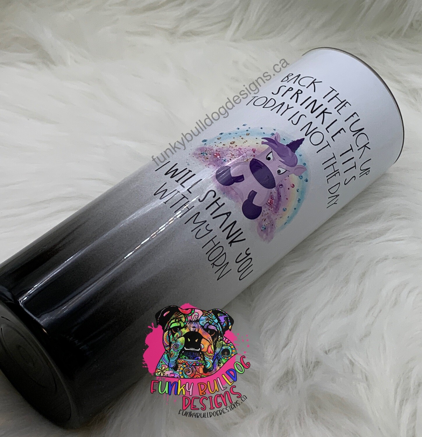20oz Stainless Steel Tumbler - Unicorn sprinkle tits, will shank you with my horn