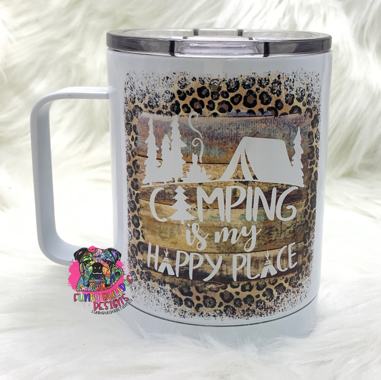 14oz Stainless Steel Coffee Mug - Camping is my happy place - leopard print