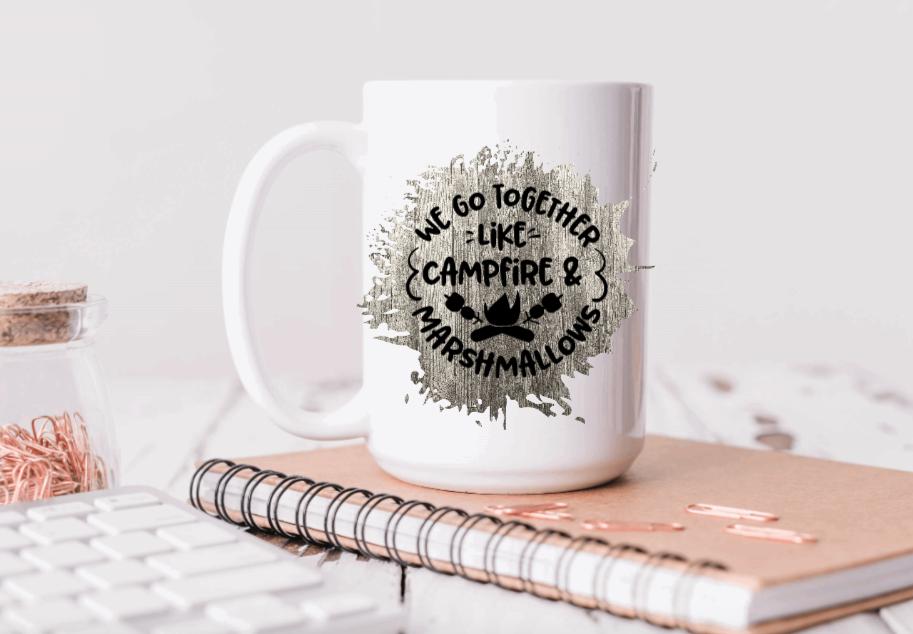 15oz Ceramic Mug - we go together like campfire and marshmallows