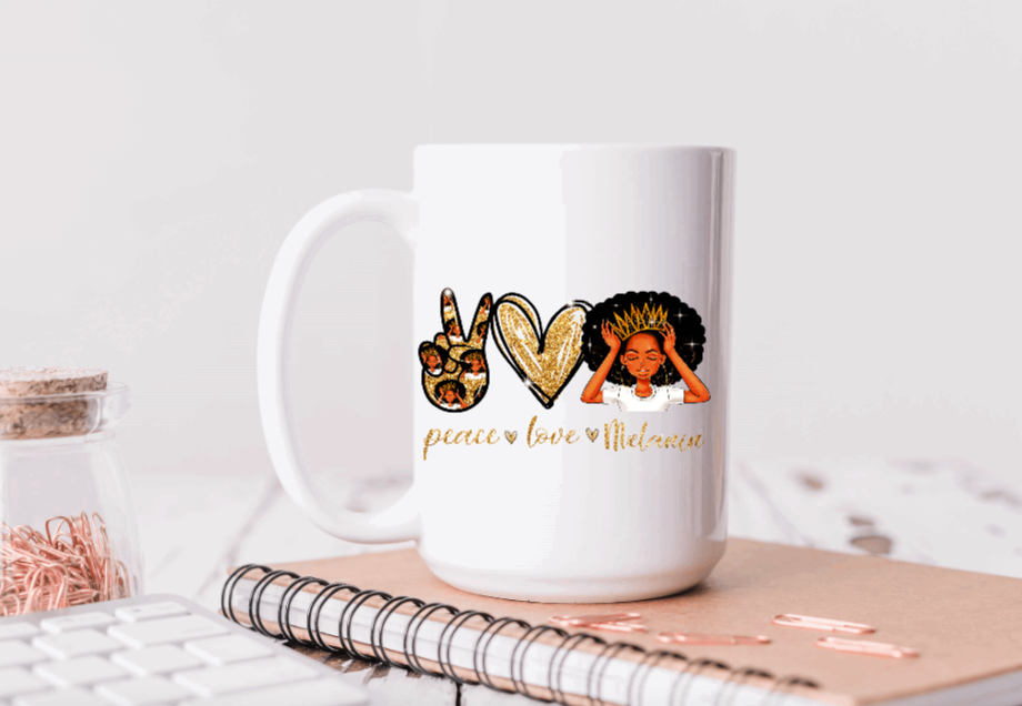 15oz Ceramic Mug - Peace Love Melanin