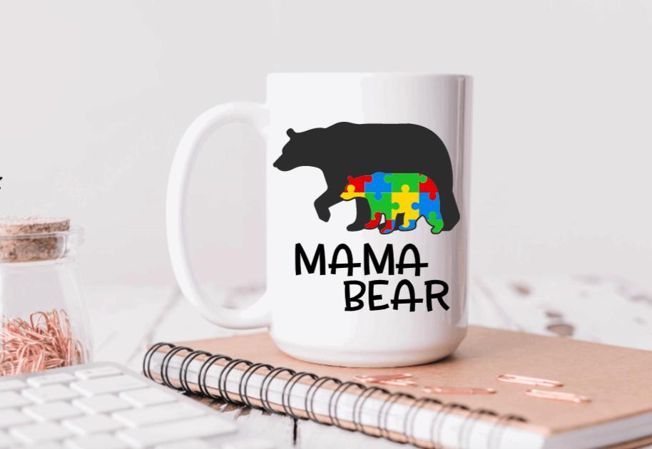 15oz Ceramic Mug - Mama Bear (Autism design)