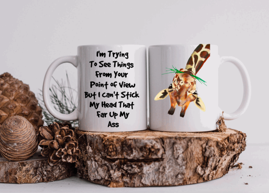 11oz Ceramic Mug - Giraffe - I'm trying to see things from your point of view