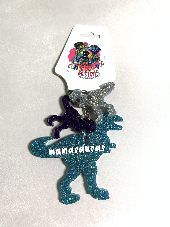 Resin Glitter Keychain - Mamasaurus Dinosaur with 2 babies