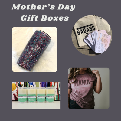 Mother's Day Gift Box - Glitter Mama Tumbler & T-shirt  & a few other goodies. (optional: Affirmations for a Bad Ass - contains swearing)