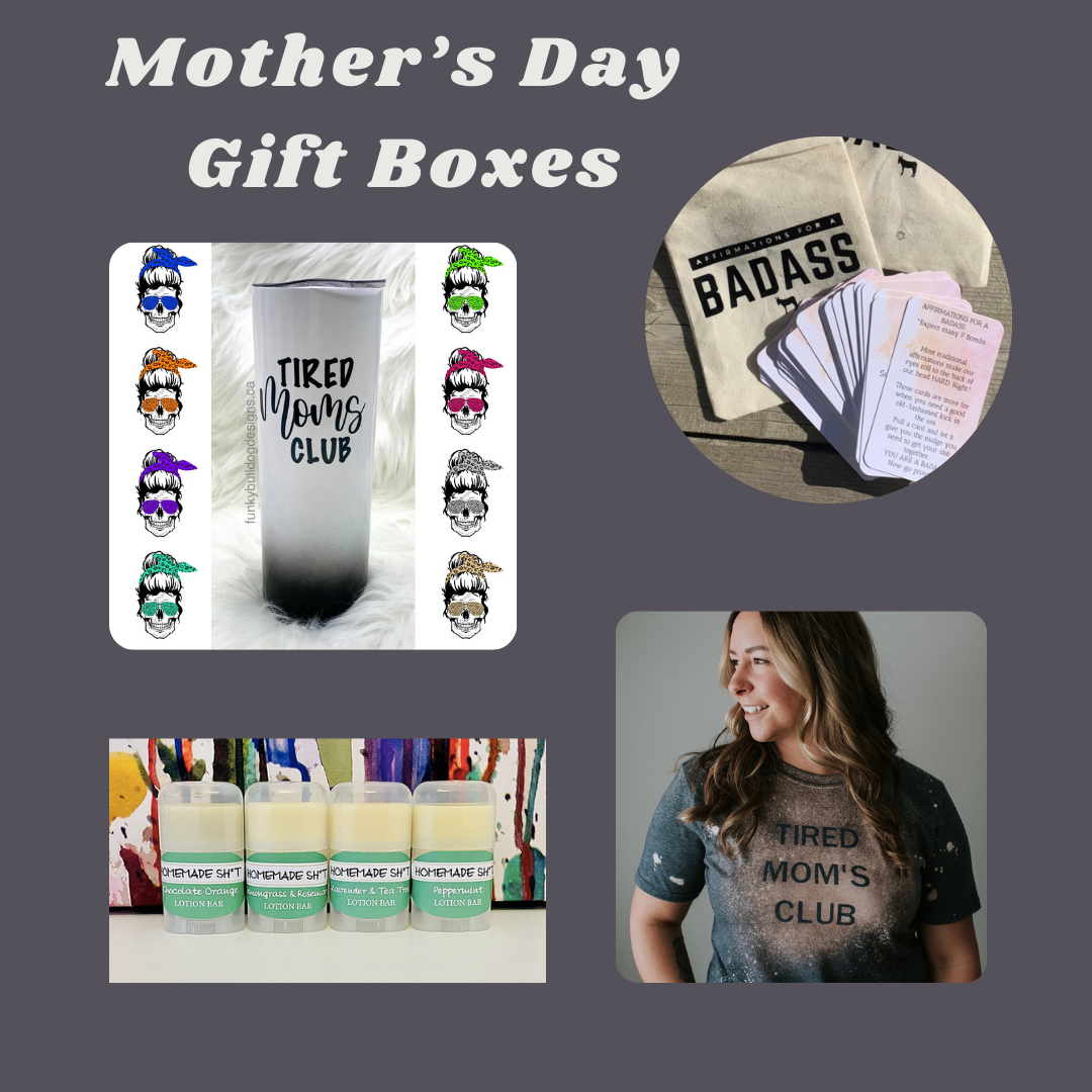 Tired Mom's Club - Mother's Day Gift Box - Tumbler, matching keychain (not shown), T-shirt, Affirmations for a Bad Ass (contains swearing), all natural lotion bar & a few other goodies.