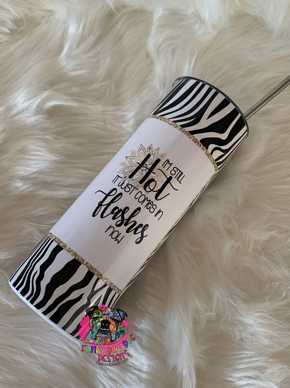 20oz stainless steel tall skinny - Leopard/Zebra print