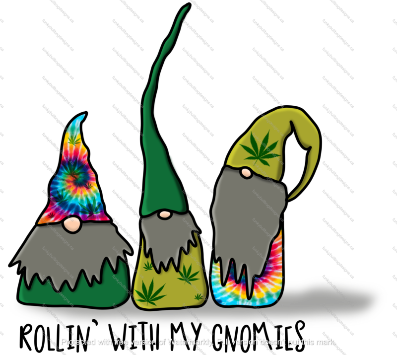 DTF (Direct to Film) Transfer - Rollin' gnomies - weed tie die - full color, no weeding - great for dark or light fabrics *please read entire description