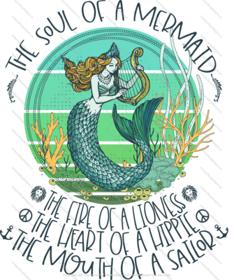 DTF (Direct to Film) Transfer - The soul of a Mermaid - full color, no weeding - great for dark or light fabrics *please read entire description