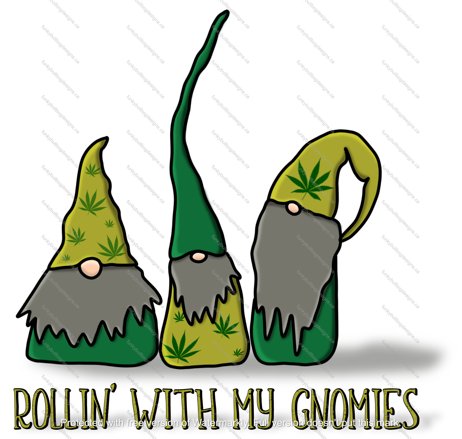DTF (Direct to Film) Transfer - Rollin' gnomies - weed - full color, no weeding - great for dark or light fabrics *please read entire description