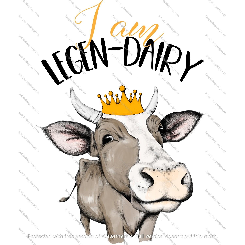 DTF (Direct to Film) Transfer - Heifer legen-dairy - full color, no weeding - great for dark or light fabrics *please read entire description
