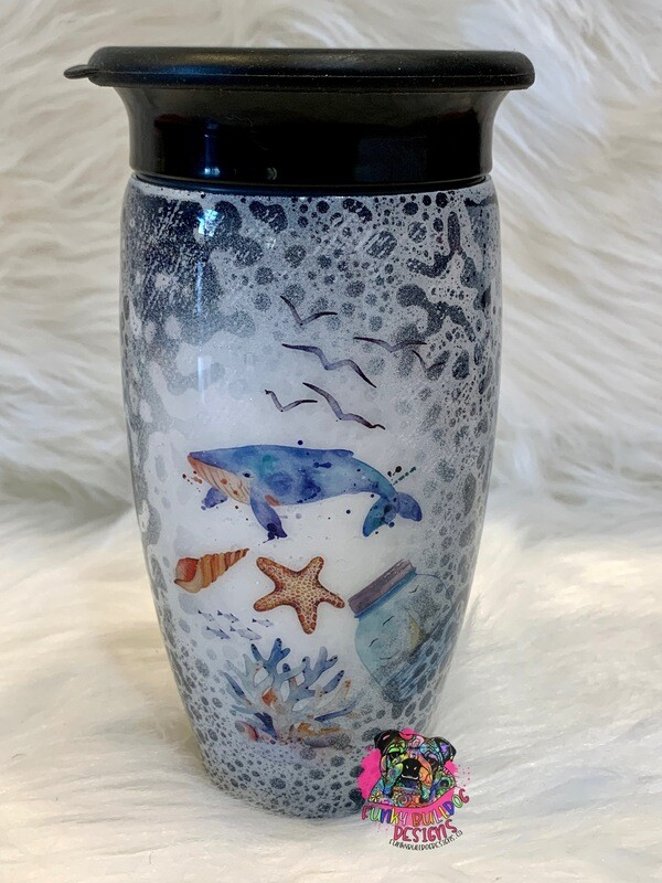 12oz 360 degree stainless steel sippy cup - Ocean theme