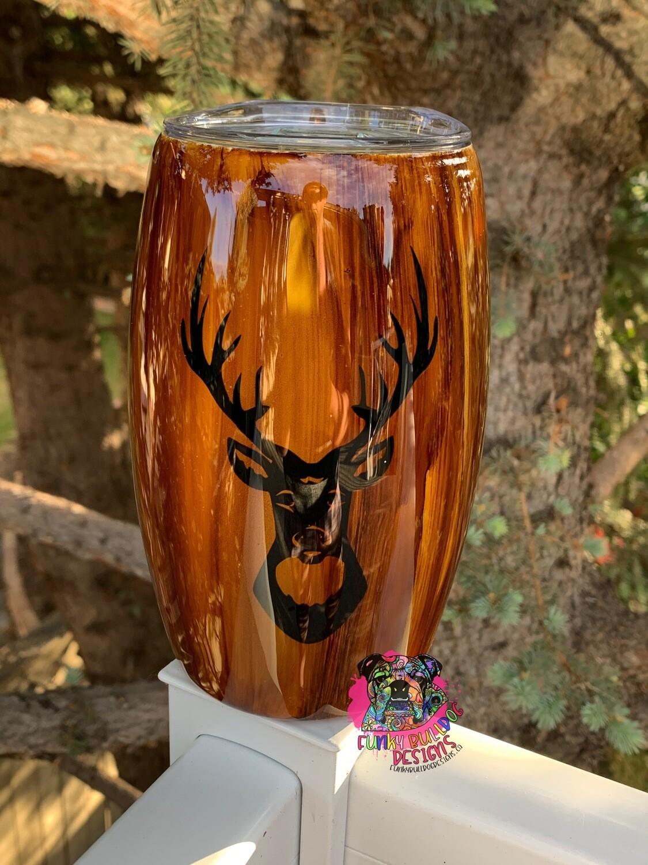 PRE-ORDER - 15oz woodgrain stainless steel Barrel tumbler - Hunting Deer