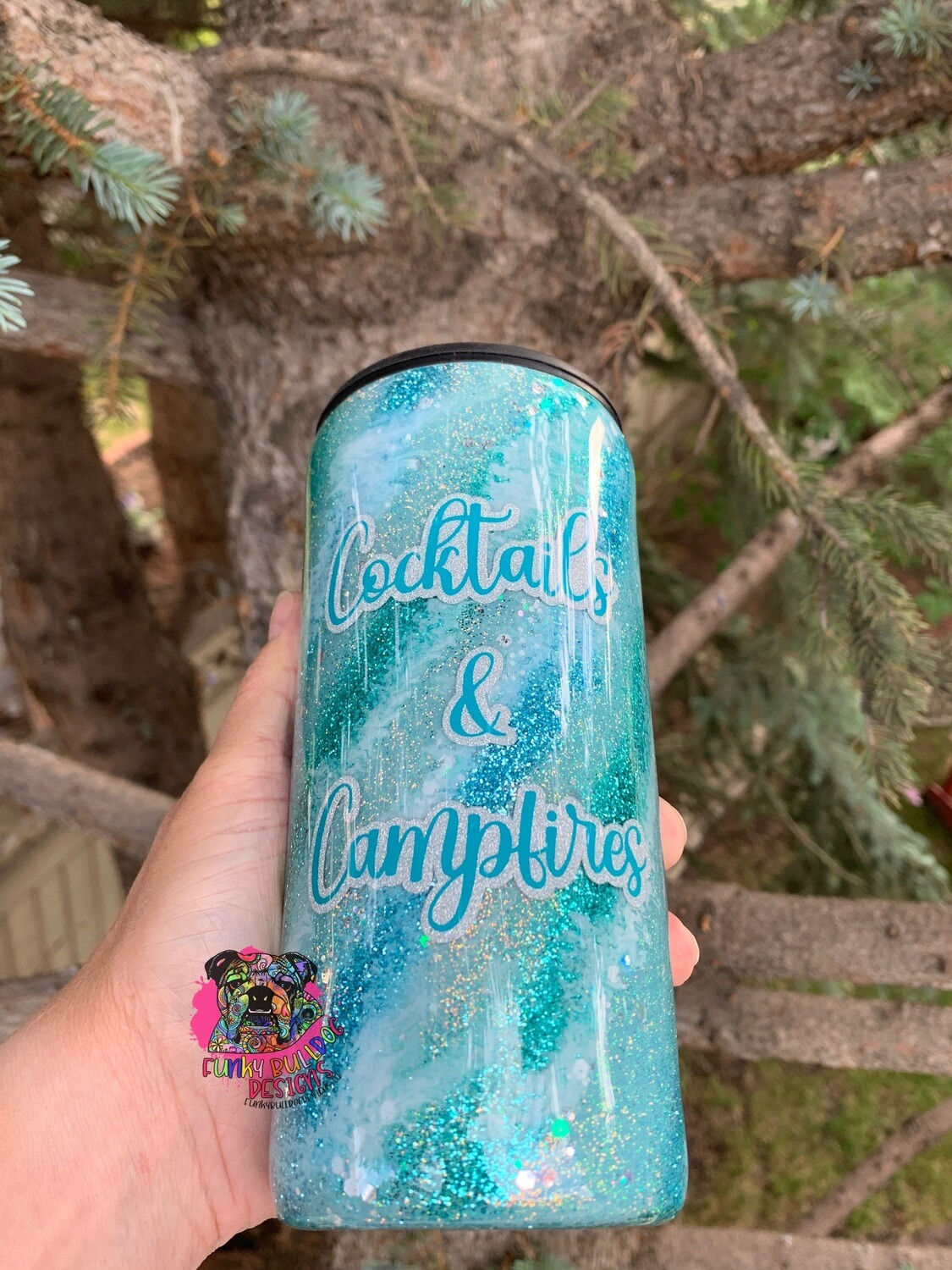 15oz glitter stainless steel DUAL lid tumbler - cocktails & campfires