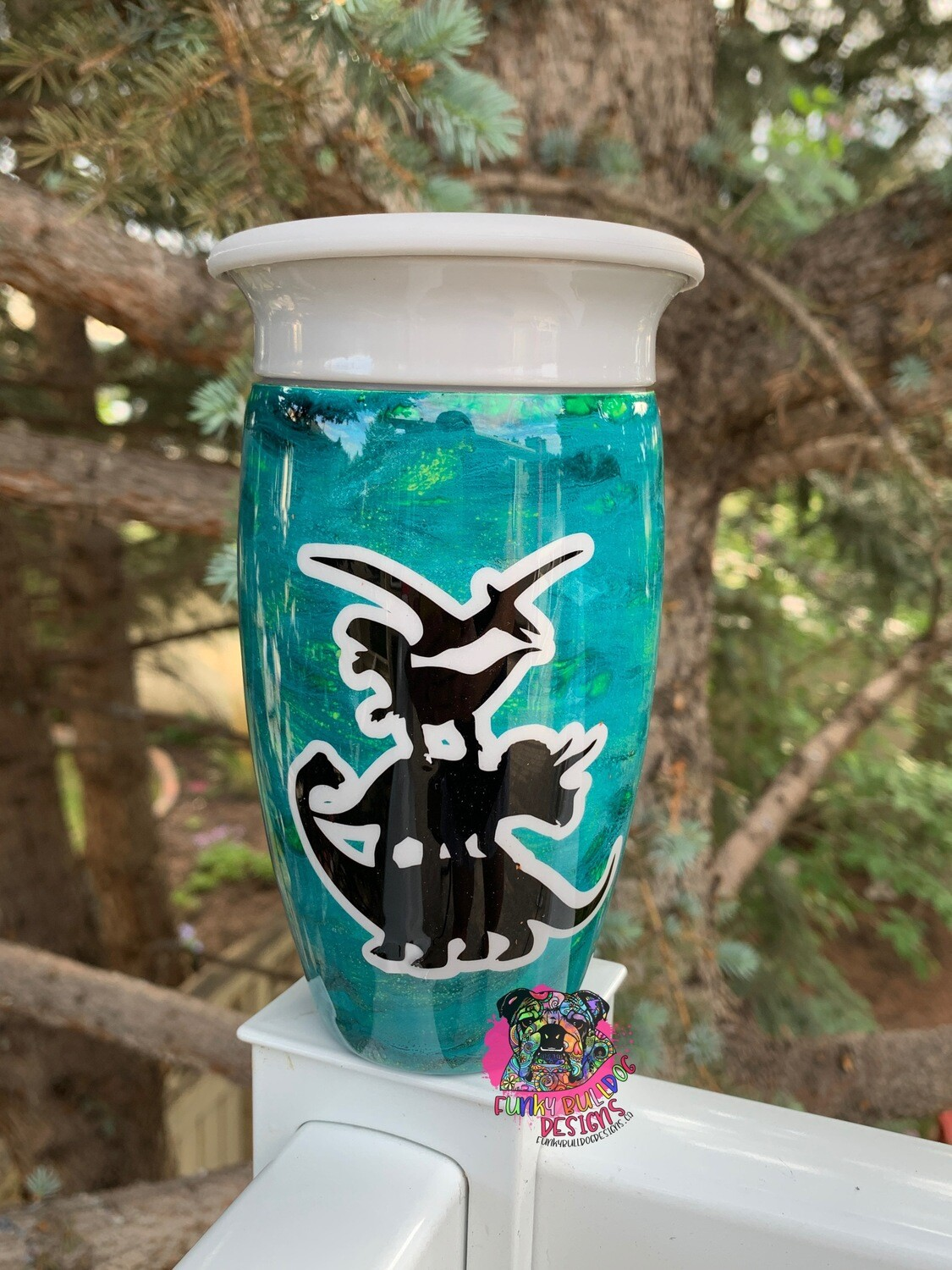 12oz stainless steel 360 degree toddler tumbler - hand painted - dinosaur design *see note in description