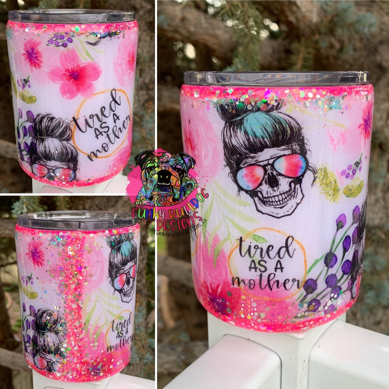 14oz stainless steel low ball fabric and glitter tumbler - tired as a mother