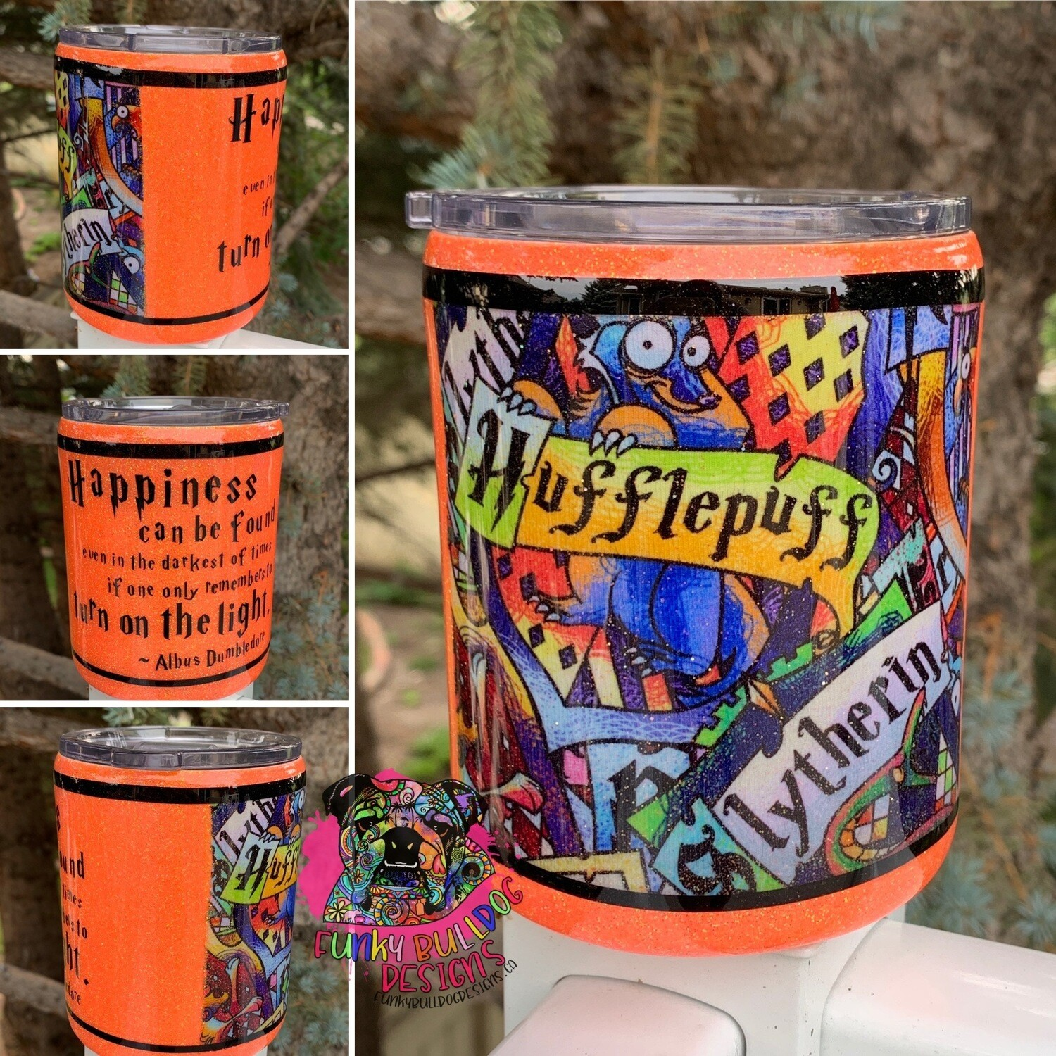 14oz stainless steel low ball fabric and glitter tumbler - Happiness can be found even in the darkest of times