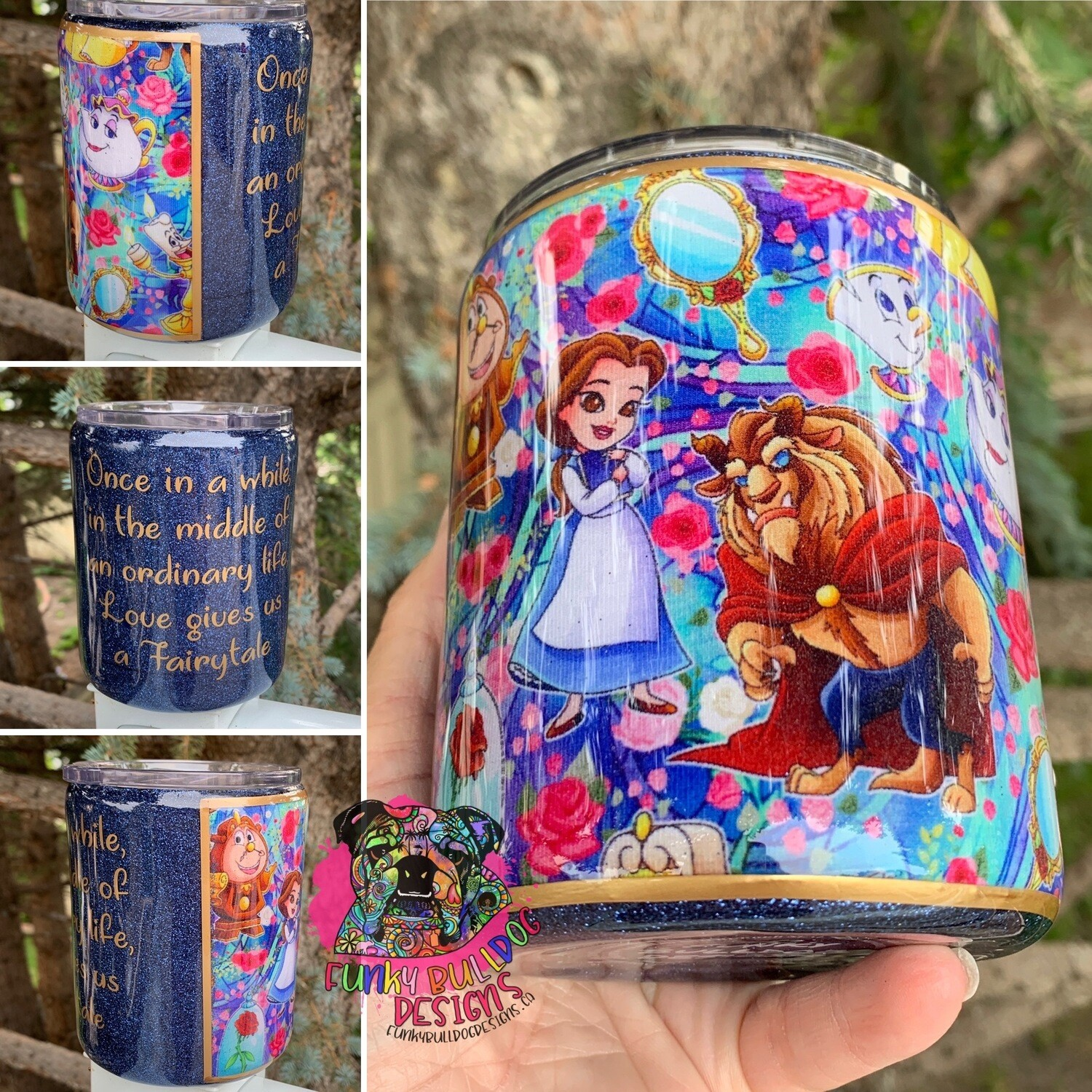 14oz stainless steel low ball fabric and glitter tumbler - Be our guest