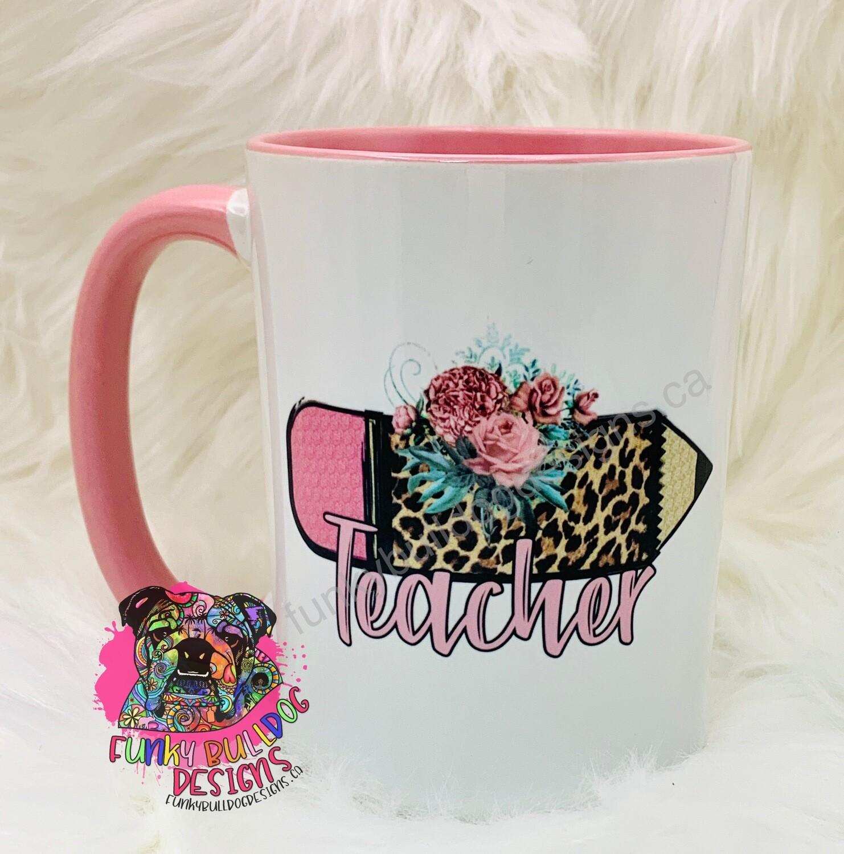 15oz Ceramic Mug (pink handle) - Teacher Leopard Print