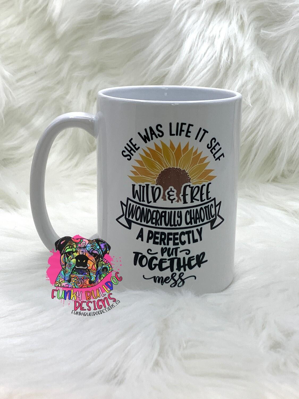 15oz Ceramic Mug - she was life itself - sunflower design