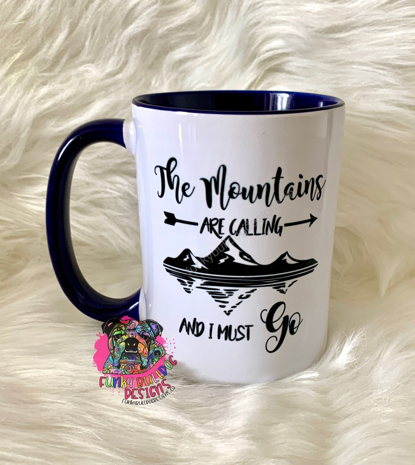 15oz Ceramic Mug (Navy Blue handle) - The Mountains are calling (camping boating design)