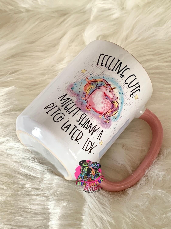 15oz Ceramic Mug (pink handle) - feeling cute unicorn