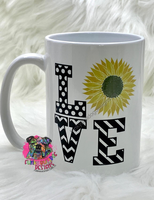 15oz Ceramic Mug - Love sunflower design