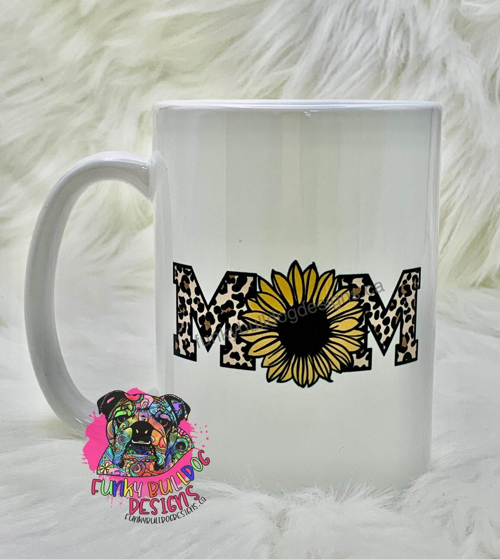 15oz Ceramic Mug - Mom- sunflower leopard print design