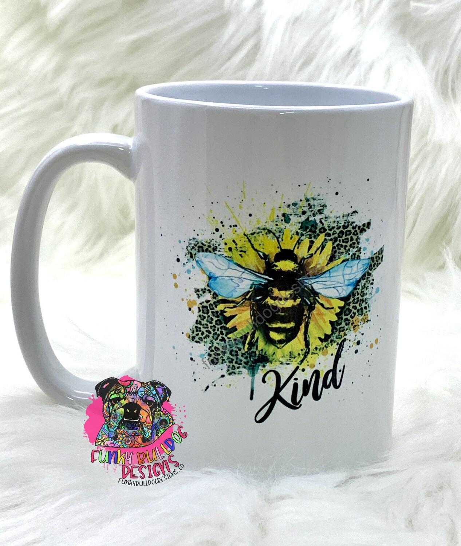 15oz Ceramic Mug - Bee Kind - sunflower leopard print design