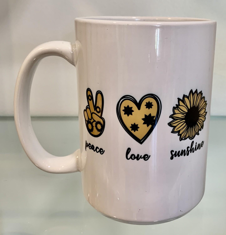 15oz Ceramic Mug - Peace Love Sunflowers