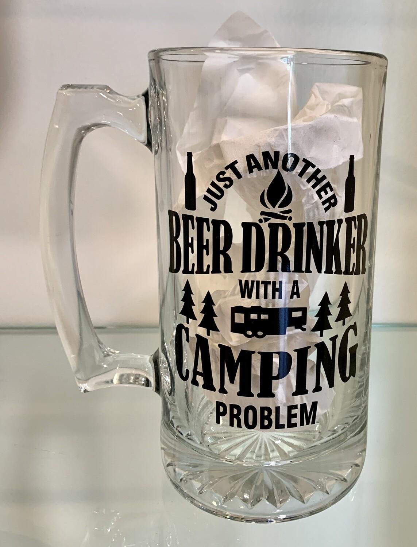 26oz glass beer mug - camping design