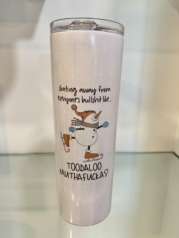 20oz Stainless Steel shimmer tumbler - Toodaloo snowman