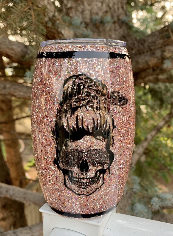 15oz stainless steel barrel tumbler - Leopard print skull