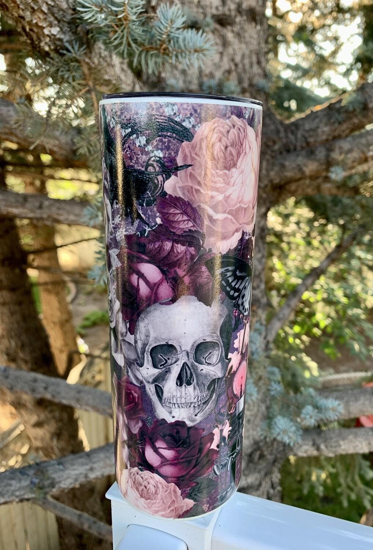 20oz stainless steel tall skinny - GLOW IN THE DARK - Purple Pink Skull