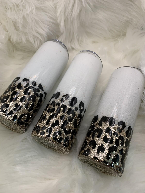 PRE-ORDER 20oz stainless steel glitter tumbler, Leopard print tumbler