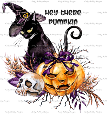 DTF (Direct to Film) Transfer - Hey there Pumpkin - full color, no weeding - great for dark or light fabrics *please read entire description