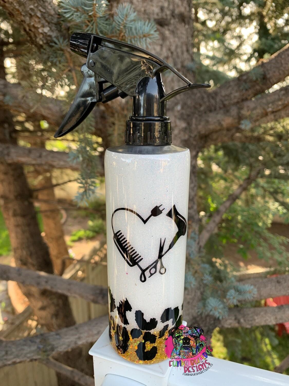 350ml hairdresser spray bottle - glitter leopard print