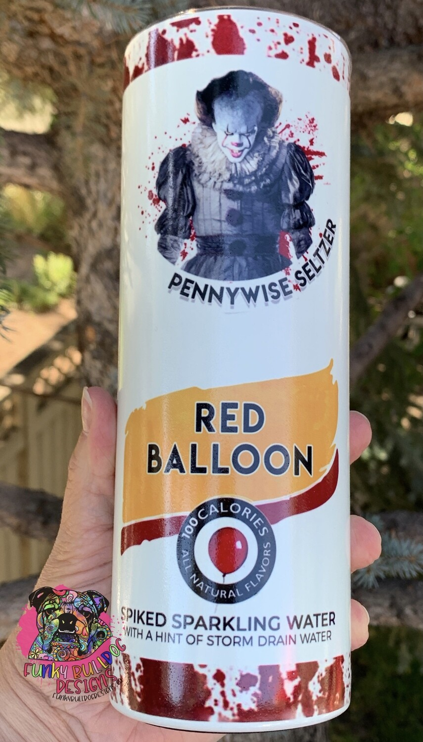 20oz stainless steel tall skinny - GLOW IN THE DARK - IT Scary Movie - Pennywise