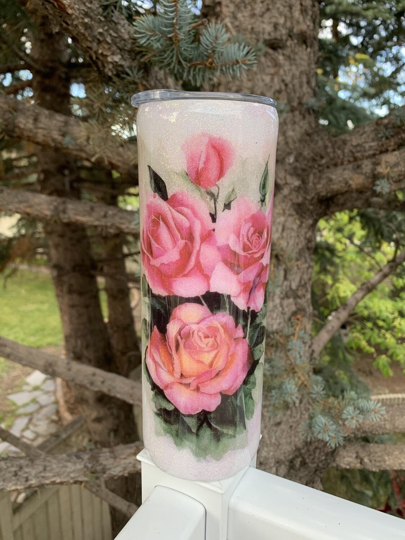 20oz stainless steel glitter tumbler - Roses