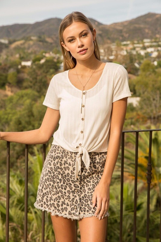 Leopard Button Front Mini Skirt