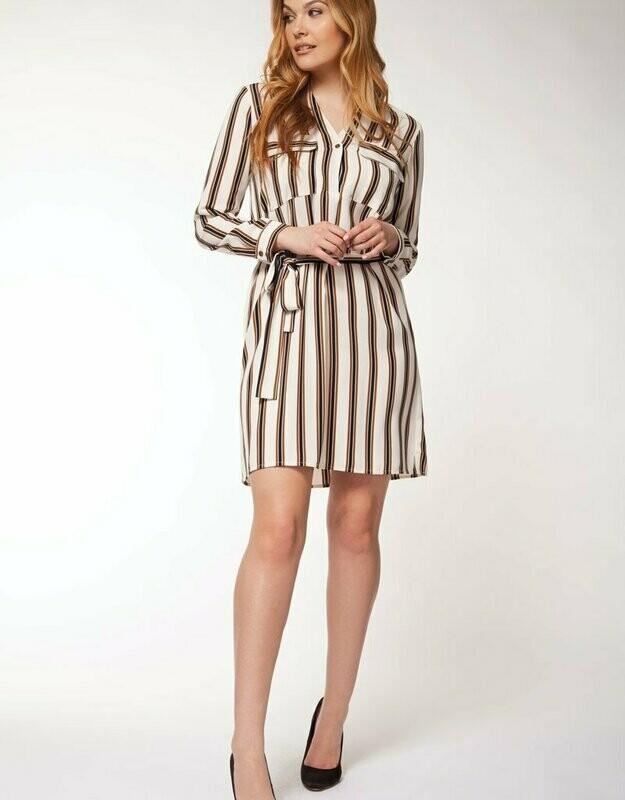 Black Tape  Cream/Navy/Brown Striped Dress