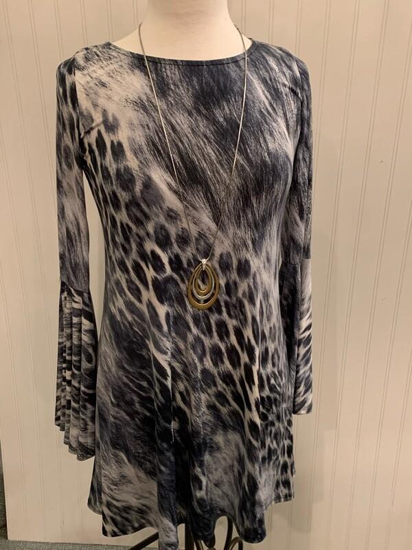 Grey Animal Print Bell Sleeve Dress