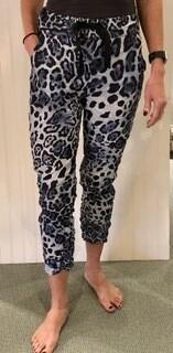 Gigi Moda 7558L blue leopard tie waist crop pants-OS