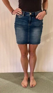 Liverpool Denim Raw Hem Zip Front Skirt